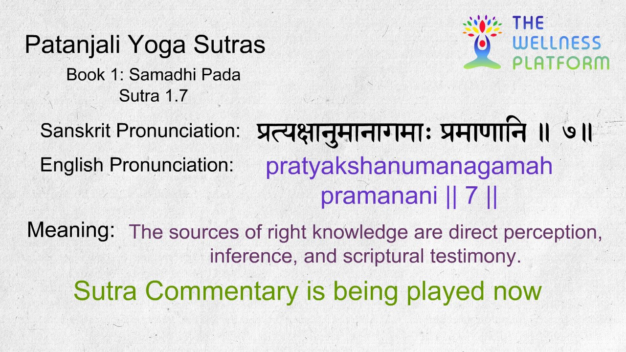 Patanjali Yoga Sutra 1 7 Sanskrit Sutra And English Meaning Commentary Youtube