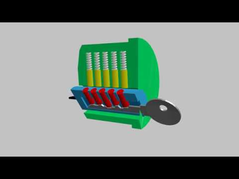 pin tumbler lock -  security device  - animated 3d