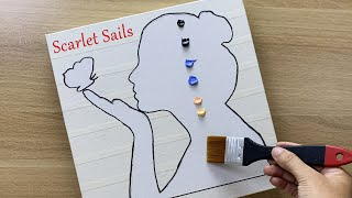 Daily challenge #149 / Tape Art / Scarlet Sails Acrylic Painting