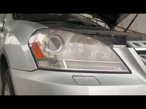 Mercedes benz w164 M class cleaning headlight remove front bumper снятие бампера чистка фар