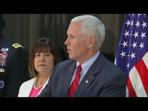 VP Mike Pence speaks at fellowship meal with US troops (f...