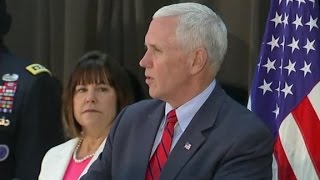 VP Mike Pence speaks at fellowship meal with US troops (f