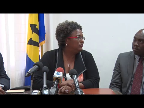 Prime Minister Mottley speaks to the Press