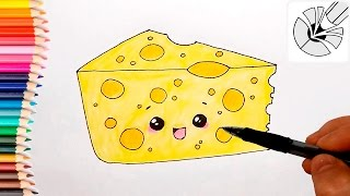 How to Draw a Cute Cheese and Color - Easy Drawing Tutorial