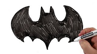 How to Draw Batman Logo Step by Step Very Easy for Kids / Drawing on a Whiteboard
