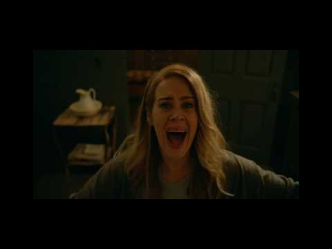 Opens Shower Curtain Man Wearing A Pig Head Chases Her - Scene From American Horror Story - Roanoke
