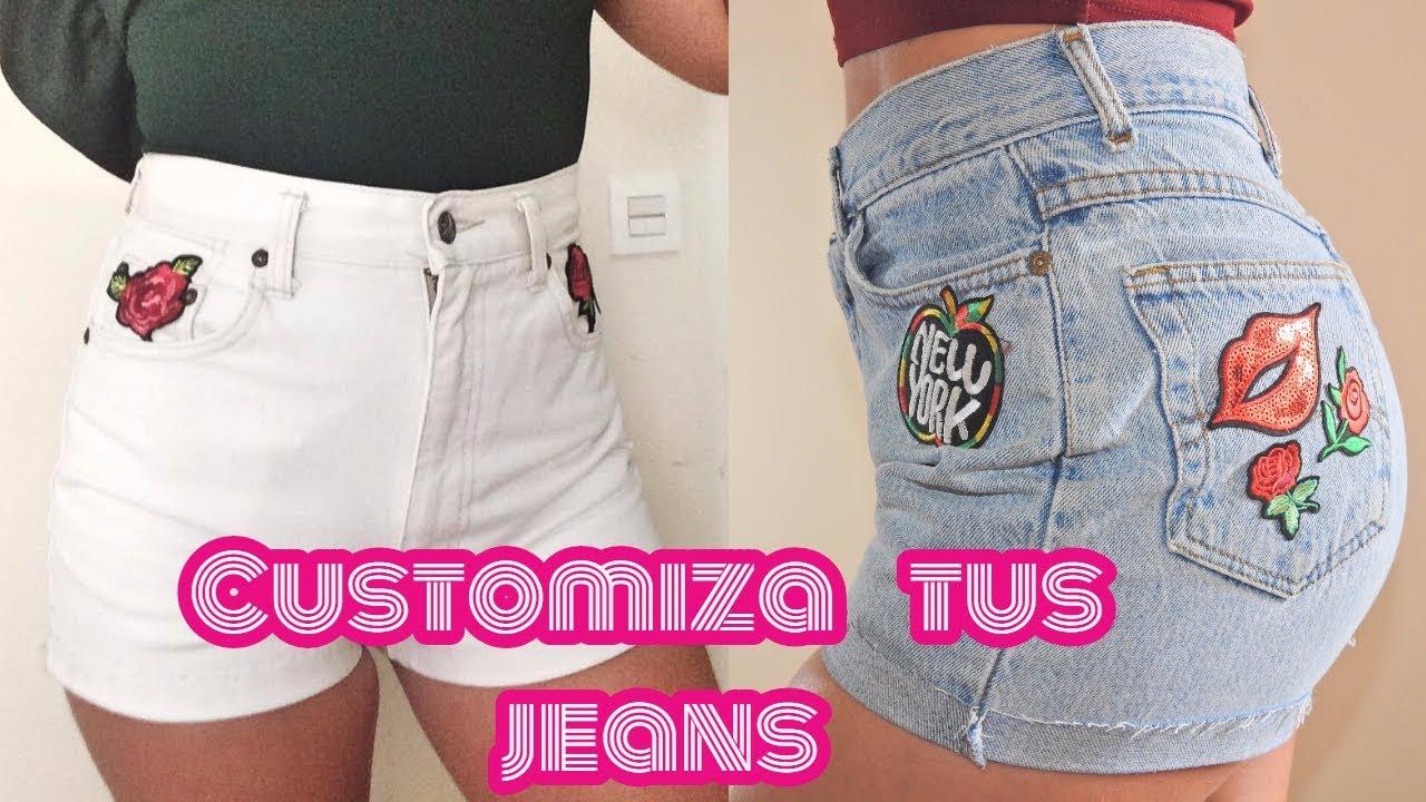 12076c5895 Cómo transformar tus pantalones jeans en shorts personalizado - DIY ...