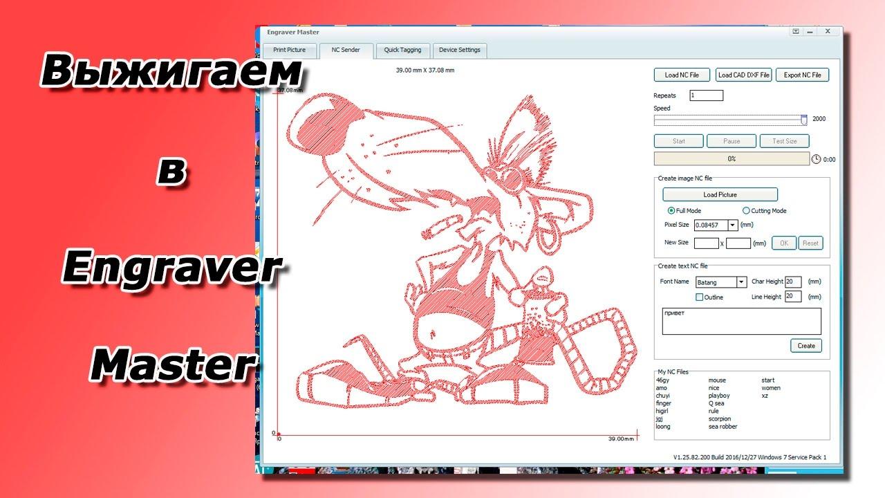 Выжигаем лазером в программе Engraver Master