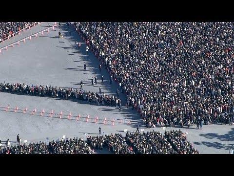 天皇陛下、在位中最後の新年一般参賀 早朝から長蛇の列