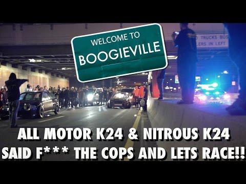 What Police? Lets Race !! AM K24 Civic Spots Nitrous K24 Civic 3 Cars