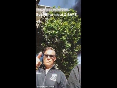 Robbie William en la evacuación del Mandarin Oriental