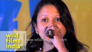 Singer Sarita Gazmer singing Nepali song in Sikkim