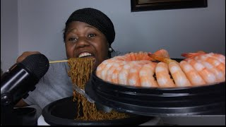 Spicy Black bean noodles & Shrimp MUKBANG