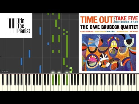 Take Five (Dave Brubeck) - SLOW Piano tutorial [Synthesia] + Sheets (partituras)