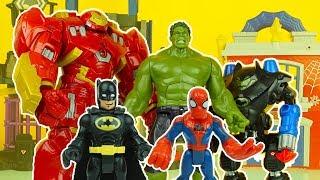HULK vs HULKBUSTER & BATBOT ! IRON MAN BATMAN SPIDERMAN HULK avengers superhero toys