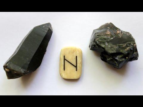 Руны и камни, соответствие.  Хагалаз - морион  и обсидиан.