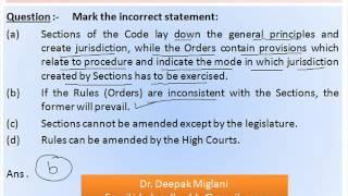 Civil Procedure Code Practice Questions Session 1 by Dr  Deepak Migalni