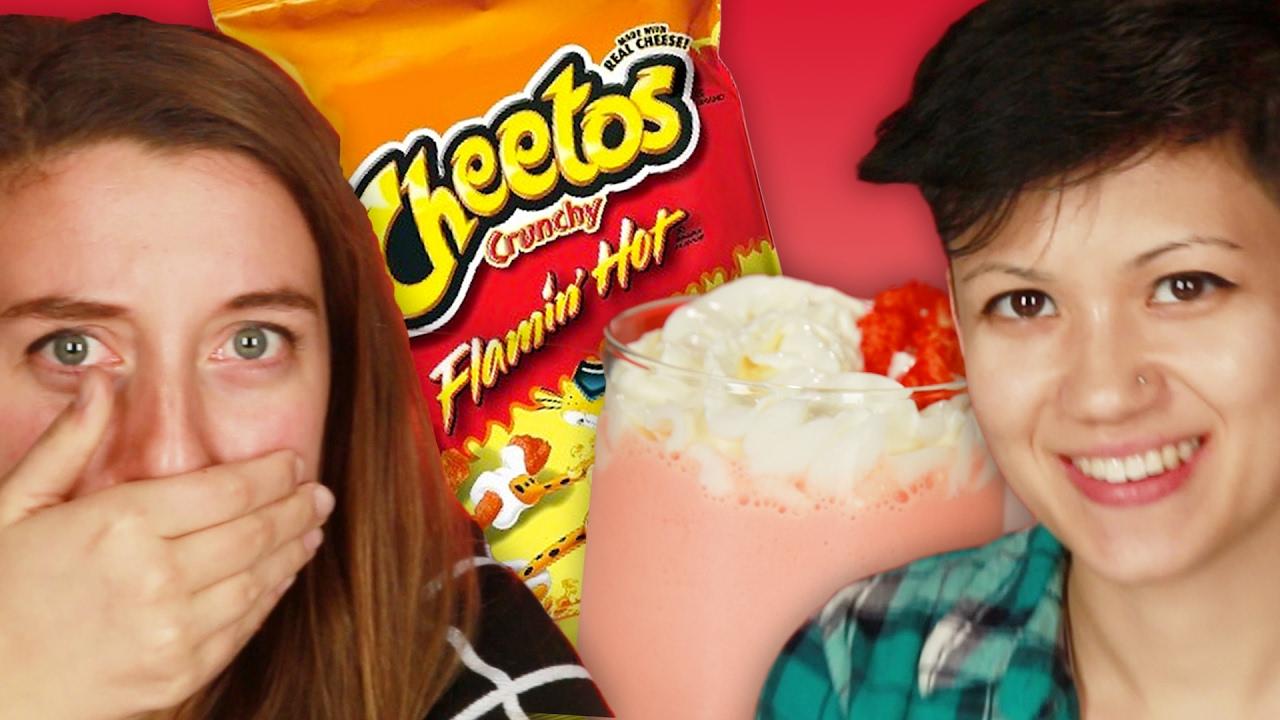 Personas probar los Hot Cheetos batido