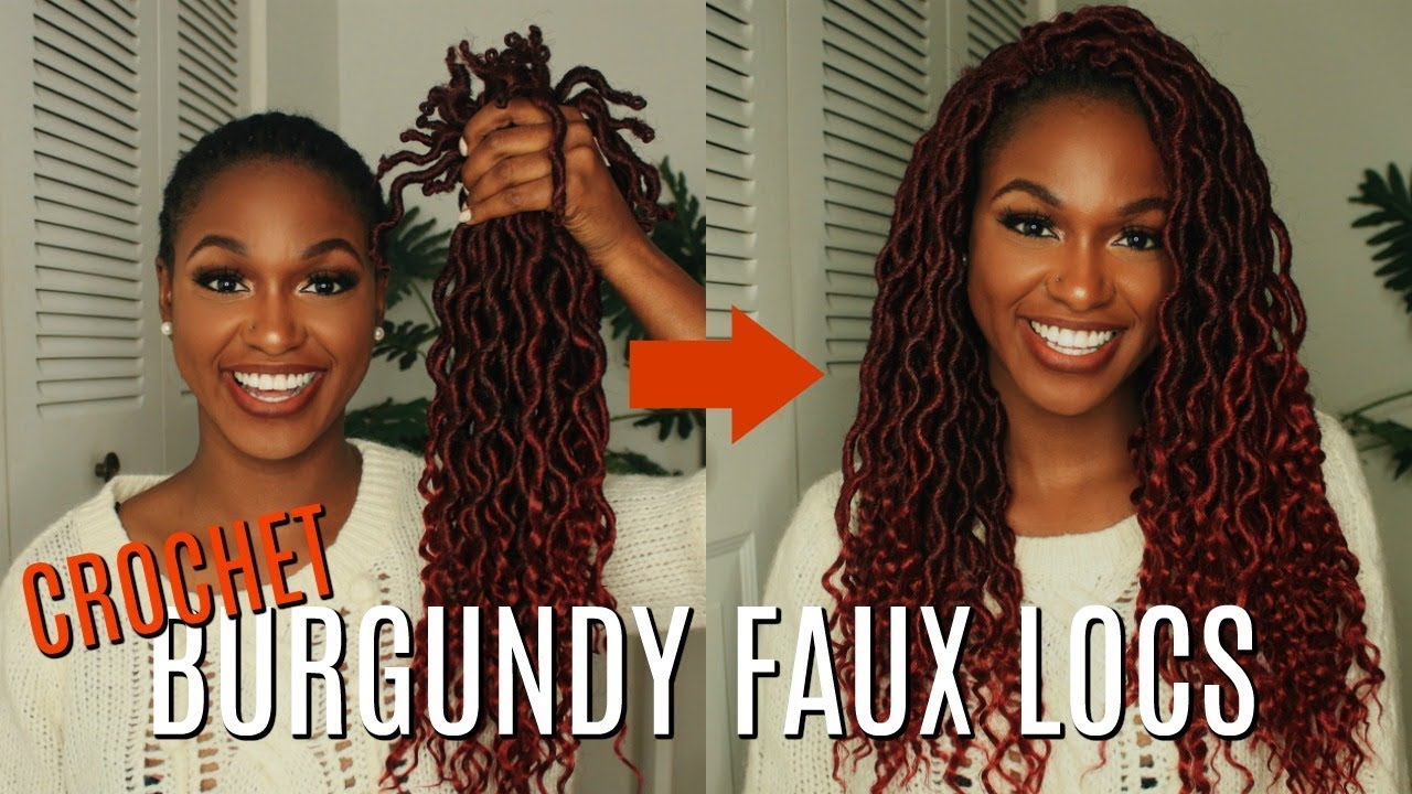 Crochet Burgundy Goddess Faux Locs Tutorial In Under 2 Hours