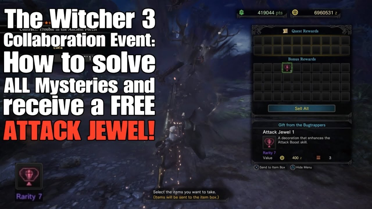 MHW - The Witcher 3 Collab Event (ALL Sidequests + FREE Attack Jewel!)