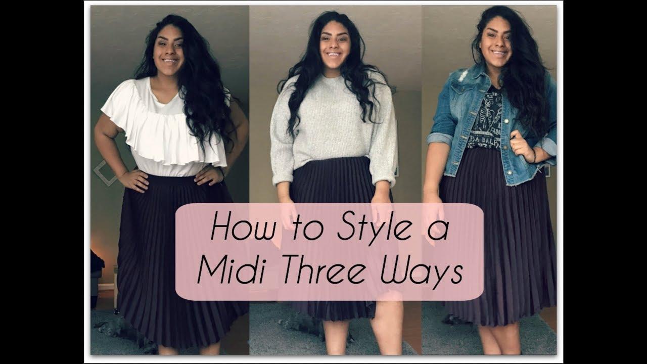 0ea7481fe4 Plus Size Fashion - How to Style a Midi Skirt Three Ways - 3 Looks 1 Skirt