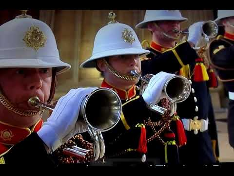 The Buglers Of The Royal Marine Perform Sound The Last Post At Prince Philip Funeral