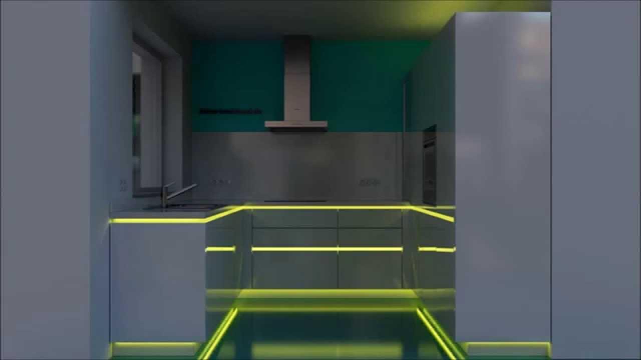 Kche  RGB LED  Beleuchtung in einer Einbaukche in Marl  YouTube