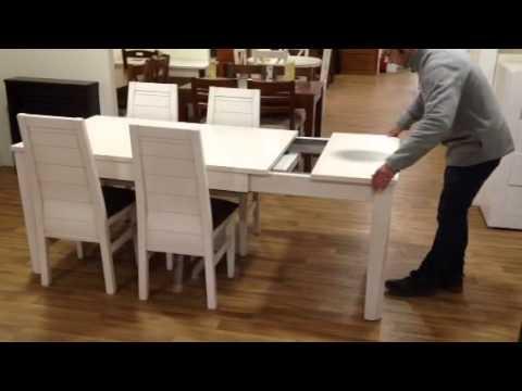 Mesa comedor 2 extensiones de los pinos muebles youtube for Mesas de comedor extensibles de madera