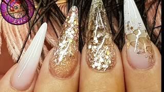 Rose Gold Glitter & Snake Skin Acrylic Nails