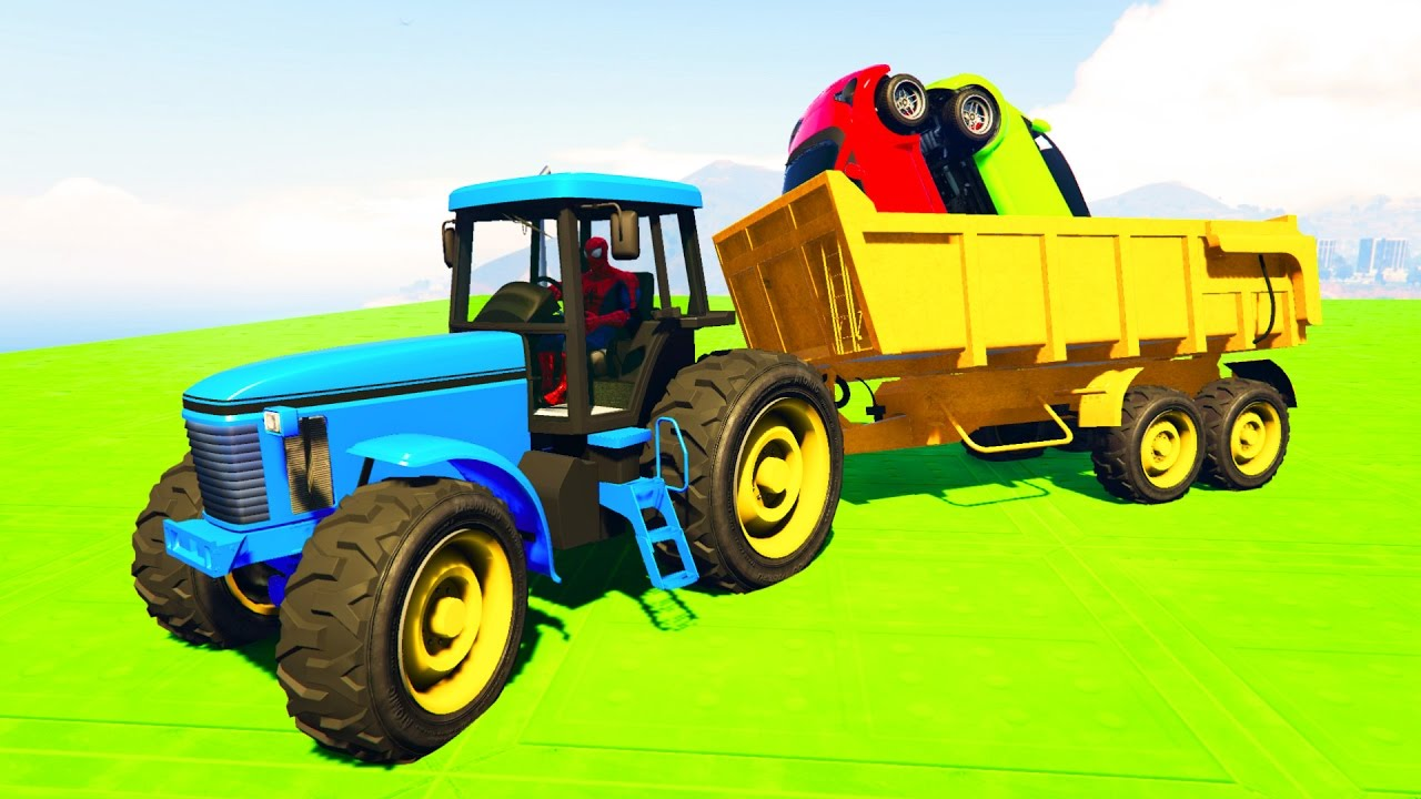 COLOR TRACTOR with SMALL CARS! Humorous cartoon for teenagers and infants!