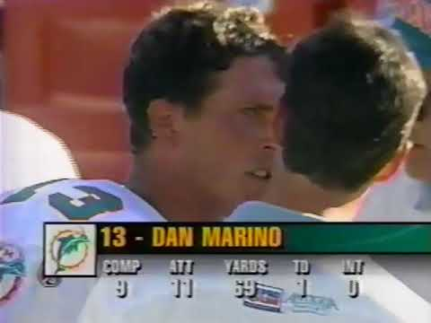 1995 Wk 06 Colts Edge Dolphins 27-24 in Overtime; Marino Sets Record; Edit with Radio Call