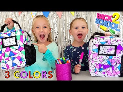 3 Marker Backpack Lunchbox Challenge for Back to School!! Sis vs Sis