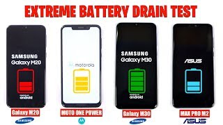 Galaxy M30 vs Zenfone Max Pro M2 vs Galaxy M20 vs Moto One Power - EXTREME BATTERY DRAIN TEST 😱🔥