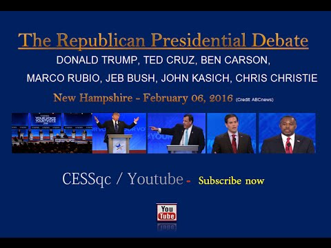 (Full & in HD) The Republican Presidential Debate - New Hampshire - FEB 06, 2016