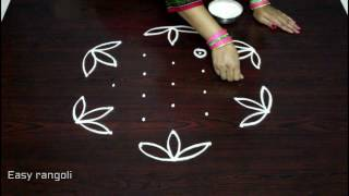 easy rangoli designs with 7x4 dots || simple kolam designs with dots || muggulu designs with dots