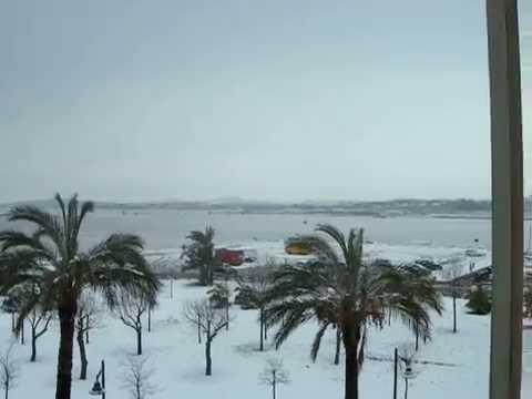 Molo Brin e Golfo di Olbia innevati domenica 12-02-2012 (video d