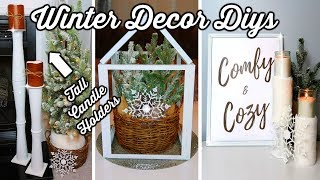 DOLLAR TREE DIYs | WINTER DECOR IDEAS | TALL CANDLE HOLDERS