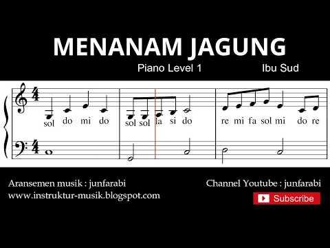 Not Balok Menanam Jagung - Tutorial Piano Grade 1 - Notasi Lagu Anak - Doremi Solmisasi
