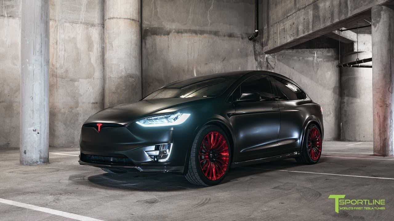 tesla model x p100d customized in all satin black with forged wheels and carbon fiber sport. Black Bedroom Furniture Sets. Home Design Ideas