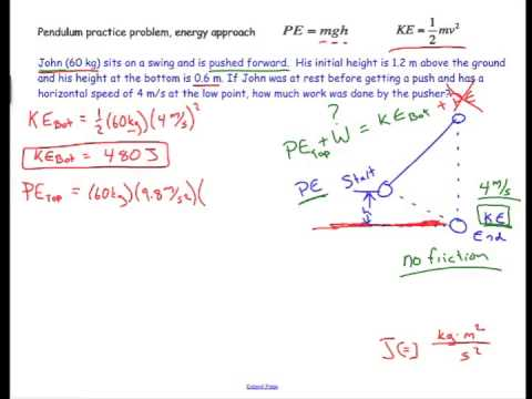 pendulum work physics problem energy approach  pendulum work physics problem energy approach