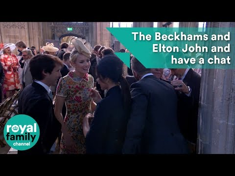 Victoria Beckham, James Blunt, Elton John and David Beckham have a chat at Royal Wedding