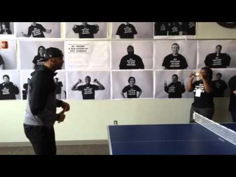 Jermaine Kearse ping-pong at his hometown Clover Park Technical College