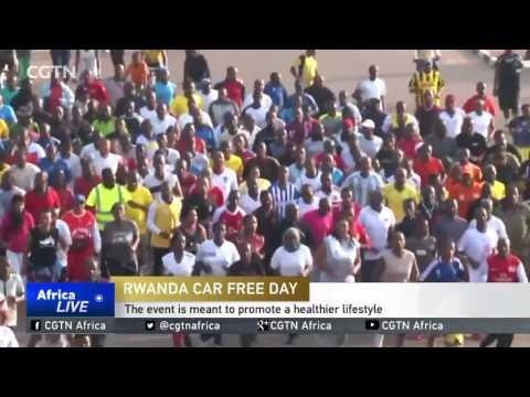 Rwandans in the capital Kigali take take part in their 'Car Free Day'