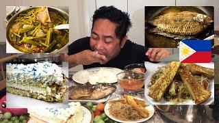 BULALO SINIGANG! LECHON KAWALI PANCIT BIHON! TILAPIA! STRAWBERRY CAKE! MUKBANG. Filipino Food.