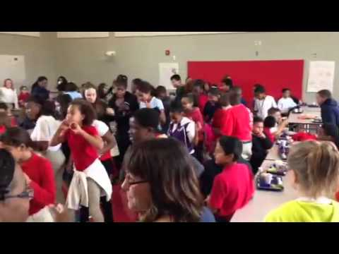 Having fun during lunch at Rolling Acres Middle School.