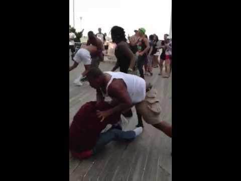 Crazy fight on the boardwalk in Ocean City, MD