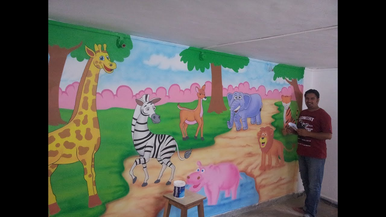 Mural Painting On Wall Play School Amp Kindergarten Wall Cartoon Painting