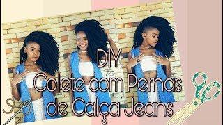 DIY : MAX COLETE  COM PERNAS DE CALÇA JEANS ✂👖/ Gleyce Santos