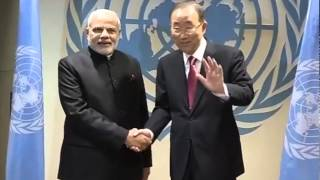 PM Modi meets Ban Ki-moon at the United Nations Headquarters in New York