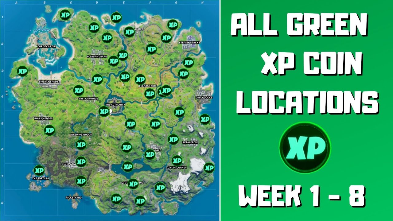 All 40 Green XP Coins Locations in Fortnite Chapter 2 Season 3 (week 1-8)! Green is Good Punch Card
